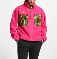Nike ACG Sherpa Microfleece Men's Jacket Animal Yellow Print Pink BQ3446 MEDIUM