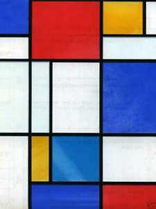 2mX67cm MONDRIAN SELF ADHESIVE WINDOW VINYL STAINED GLASS STICKY BACK PLASTIC