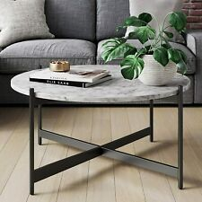 "36"" Modern Nesting coffee table,Sofa Table Black color frame with marble top"