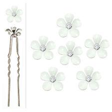 6 épingles pics cheveux chignon mariage mariée petites fleurs blanches cristal