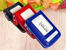 Portable Mini Genuine Leather Credit ID Business Card Holder Pocket Wallet RFID