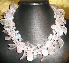 Natural Gemstone, Rose Quartz/ Moonstone/Rock Quartz Three Strand Necklace