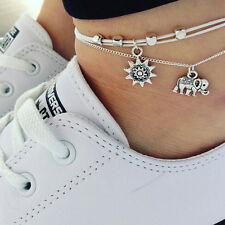 Retro silver anklet bracelet charm elephant pendant leg chain women foot jewelry