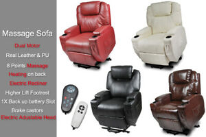 Leather Recliner Electric HeadrestMassage Disable Chair Sofa Dual Motor Armchair