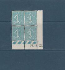timbre France bloc de 4 coin daté  Semeuse 50c turquoise  num: 362  **