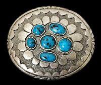 Turquoise Color Stone Flower Floral Buckle Belt Fleur Boucle de Ceinture