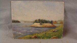 Antique Eugene Gervais St Lawrence River Landscape Painting