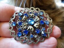 Czech Gurtler Made Blue Brooch Sm15 Art Deco Stamped Filigree Gablonz Glass