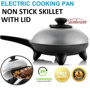 SUNBEAM Electric Skillet Wok Frypan Cooker with Lid Adjustable Heat Control NEW