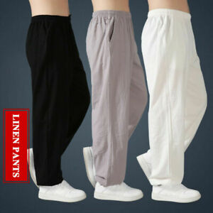 Linen Kung Fu Tai Chi Pants Martial Arts Long Trousers Elastic Waist With Pocket