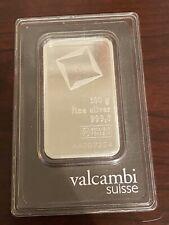 Valcambi Suisse 100 gram Silver Bar - (w/Assay) .999 Fine Silver