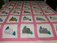 HANDMADE HAND SEWN PATCH SQUARES QUILT 78 X 93 Log Cabin Houses NEVER USED