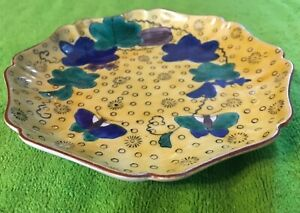 Antique Japanese Rare Kutani Porcelain Mokko Shape Yoshidaya Butterfly Plate