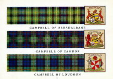 60+yr old Print SCOTTISH Clan CAMPBELL Tartan Coat of Arms Genealogy Gift Matted