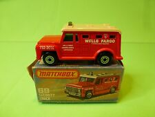 MATCHBOX 69 SECURITY TRUCK ARMOURED - WELLS FARGO - RED - NEAR MINT IN BOX