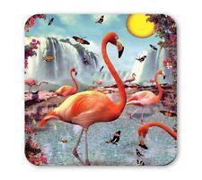 Retro - Vogel - Flamingo - Wasserfall - Untersetzer - Coaster - Bierdeckel - Lip