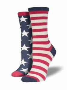 Socksmith Women's Novelty Crew Socks, WNC337 USA Flag - Blue