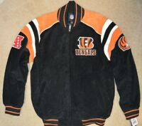 NFL OFFICIAL GIII CINCINNATI BENGALS SUEDE LEATHER JACKET SIZE XXL-NWT