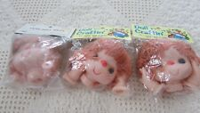 Set of 3 Vtg Doll Craftin/Other 3.5 inch Mitzy Yarn Doll Head/Hands Brown New