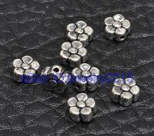 100pcs Tibetan silver bead charm flower spacer beads 3x6mm G3413