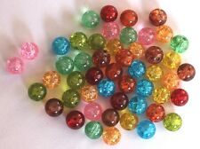 0,05€/Stk 50 Glas-Crash-Perlen Crackle 8mm bunt gebrochen Beads Farbe 1 Neu