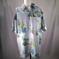 Hawaiian Shirt Pineapples Blue Mens Sz XL Hawaii Island Flowers Matched Pkt Tags