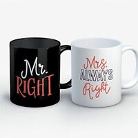 Couples Coffee Mug - Mr Right Mrs Always Right - Funny 11 oz Black/White Ceramic