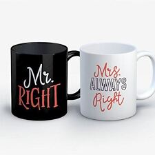 Couples Coffee Mug - Mr Right Mrs Always Right - Funny 11 oz Black/White Ceramic