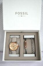 Donna Rose Gold Grigio cuoio FOSSIL Watch & Braccialetti Gift Set in scatola BNWT NUOVO!