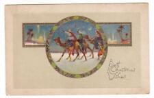 vintage postcard. Christmas.  wisemen camels