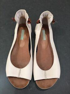 Zazou Myer Cream Nude Open Toe Leather Loafers Flats - Sz 38 - Slip On