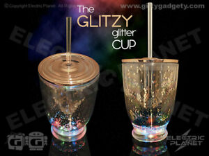 Rose Gold Glitter LED Light-Up Party Cup With Lid & Straw, Cocktails, Wine, Spir