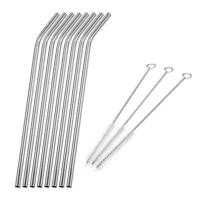 4/6/8x Reusable Stainless Steel Metal Straws Drinking Straws Cleaner Brush Set