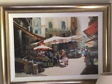 """ROLF HARRIS Ltd Edition Large Canvas Print 'Palermo Market"""" with Gold Frame"""