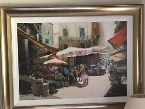 "ROLF HARRIS Ltd Edition Large Canvas Print 'Palermo Market"" with Gold Frame"