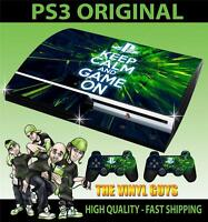 PLAYSTATION PS3 OLD SHAPE STICKER KEEP CALM AND GAME ON SKIN & 2 PAD SKINS