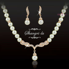 18K ROSE GOLD GF WEDDING PEARL NECKLACE SET with Swarovski CRYSTAL EX333