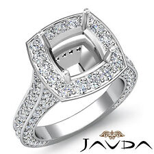 Cushion Diamond Engagement Vintage Ring Platinum Halo Pave Set Semi Mount 2.1C