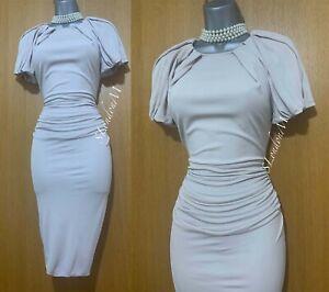 Karen Millen Ivoire Jersey Ruché Grec Style Bureau Travail Robe Droite Taille UK