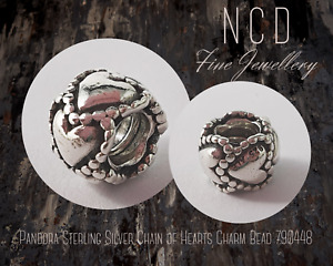 NC Designs Authentic Pandora Sterling Silver Chain of Hearts Charm Bead 790448