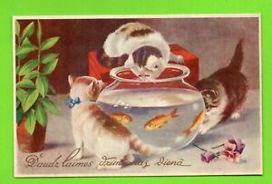 LATVIA LETTLAND CATS AND AQUARIUM WITH FISH happy Birthday VINTAGE POSTCARD 275