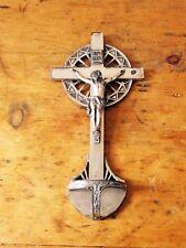 Vintage metal holy water font crucifix INRI German gesetzl geschutzt