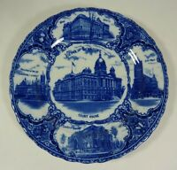 Antique Views of SYRACUSE New York Souvenir Plate Carnegie Library College Court