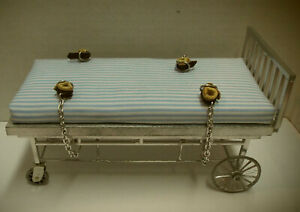 Dollhouse miniature handcrafted Medical Hospital asylum bed cuffs restraint 1/12