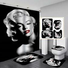 Marilyn Monroe Black Bath Mat Toilet Cover Rug Shower Curtain Bathroom Decor