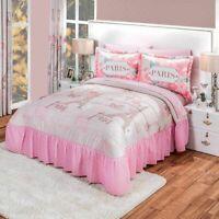 City Light Paris Pink Microfiber Bedspread Set by Intima Hogar