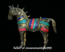 """9.2"""" Old Tibet Bronze Turquoise Red Coral War Horse Animal Statue Sculpture"""