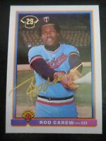 1991 Bowman Baseball Rod Carew HOF Autograph Auto #3 Twins