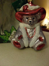Red Rose Bear Goebel Heirloom Collection Glass Ornament - Nib