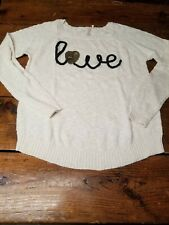 Pre-owned Red Camel Womens Large Cream Sweater With Love Sequin Lettering